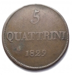 D/ Zecche Italiane - Firenze. Leopoldo II. 1824-1859. 5 quattrini 1829.Cu. 3.75 gr. Pag. 173.RRR. MB-BB