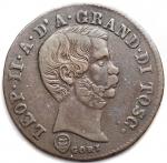 D/ Zecche Italiane - Firenze. Leopoldo II (1824-1859) 10 quattrini 1858.AG, 1.63gr. Pag. 167.Bel BB+