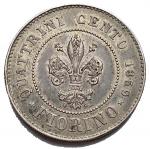 R/ Zecche Italiane - Firenze. Governo Provvisorio. 1 FIORINO 1859 Ag. SPL. Buona conservazione. Intonso con bella patina