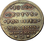 R/ Zecche Italiane - Bologna.Pio VI (1775-1779).2 baiocchi 1796, Bologna.CNI 338. Munt 248.AE.g. 20.60mm. 37.00BB/Bel BB.