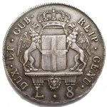 R/ Zecche Italiane - Genova. Governo dei Dogi biennali (1528-1797). III fase: 1637-1797. Da 8 lire 1796 AG. Lunardi 364. MIR 309/4. Bel BB+. Patina
