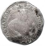 D/ Zecche Italiane. GUASTALLA Cesare I Gonzaga (1557-1575) Tallero - MIR 335 (indicato R/4) AG (g 26,46) RRRR Macchie e graffi al D/ e al R/ ma ancora un buon esemplare di questa rarissima moneta imitazione dei coevi talleri tedeschi e sicuramente destinata al commercio col Levante. MB/qBB. Già rarissima, appare inedita con questa combinazione di legenda 'AVVIBVS TENES'.