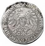 R/ Zecche Italiane. GUASTALLA Cesare I Gonzaga (1557-1575) Tallero - MIR 335 (indicato R/4) AG (g 26,46) RRRR Macchie e graffi al D/ e al R/ ma ancora un buon esemplare di questa rarissima moneta imitazione dei coevi talleri tedeschi e sicuramente destinata al commercio col Levante. MB/qBB. Già rarissima, appare inedita con questa combinazione di legenda 'AVVIBVS TENES'.