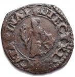 D/ Zecche Italiane - Guastalla.Ferrante III Gonzaga (1632-1678).Sesino.D/ SESINO DI GVASTALLA.R/ S CATARINA PROTECTRIX. Santa Caterina stante al centro.gr 1,06. mm 16,6.CNI 48/56. MIR 424.AE.BB++. Buon esemplare