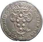 D/ Zecche Italiane. LIVORNO Cosimo III (1670-1723) Pezza della rosa 1684 - CNI 23; MIR 66/2 AG (g 25,28) RR Millesimo molto raro. BB-SPL. Patina e sedimenti