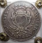 R/ Zecche Italiane - Lucca.Repubblica (1369-1799).Scudo 1744.MIR 237/6.AG.BB+. Patina. Sigillata Bazzoni senza indicazione della conservazione