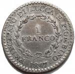 R/ Zecche Italiane -Lucca e Piombino.Elisa Bonaparte e Felice Baciocchi (1805-1814).1 franco 1807.MIR 245/3.AG. qBB-BB