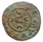 D/ Zecche Italiane - Messina.Corrado II (1254-1258).Mezzo denaro ?? C tra crescenti.Sp.- (dopo il 179).MI.g. 0.27. BB/BB+.RR.