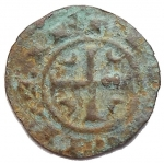 R/ Zecche Italiane - Messina.Corrado II (1254-1258).Mezzo denaro ?? C tra crescenti.Sp.- (dopo il 179).MI.g. 0.27. BB/BB+.RR.