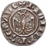 D/ Zecche Italiane - Brindisi o Messina. Federico II (1197-1250) Denaro del 1244. BI. g 0,48. d/+ F.ROM.IMP'SEP.AVG r/ +R.IERSL'ET SICIL', Spahr 130. BB-SPL