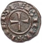 R/ Zecche Italiane - Brindisi o Messina. Federico II (1197-1250) Denaro del 1244. BI. g 0,48. d/+ F.ROM.IMP'SEP.AVG r/ +R.IERSL'ET SICIL', Spahr 130. BB-SPL