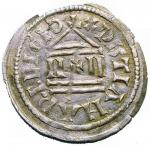 D/ Zecche Italiane. Milano.Ludovico II Imperatore (855-875).Denaro largo.CNI 1/4 MEC 1008 MIR 10.AG.g. 1.30.Fenditure filiformiBuon BB. RR