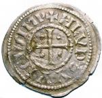 R/ Zecche Italiane. Milano.Ludovico II Imperatore (855-875).Denaro largo.CNI 1/4 MEC 1008 MIR 10.AG.g. 1.30.Fenditure filiformiBuon BB. RR