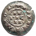R/ Zecche Italiane - Milano. Enrico III o IV. 1039-1106. Denaro Scodellato. Ag. gr 0,71. mm 16,23. MIR 48. SPL. Intonso con bella patina