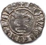 D/ Zecche Italiane - Galeazzo e Barnabo' Visconti 1355-78.Sesino o mezzo soldo,Milano, AR, (g 1,04). d/ + B G VICECOMES r/ + MEDIOLANUM. Biaggi 1458 , Crippa 5 / A . BB+ Patina