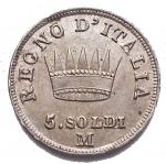 D/ Zecche Italiane - Milano. Napoleone I.5 Soldi 1812. Pagani 63.SPL-FDC