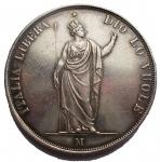 D/ Zecche Italiane.Milano.Governo Provvisorio (1848).5 lire 1848.Cr. 3a.AG.Segnetti. BB-SPL