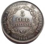 R/ Zecche Italiane.Milano.Governo Provvisorio (1848).5 lire 1848.Cr. 3a.AG.Segnetti. BB-SPL