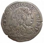 D/ Zecche Italiane.Mirandola.Alessandro II Pico (1637-1691).Lira 1669.CNI 9/13.AG.BB+. Leggera patina