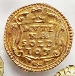 D/ Zecche Italiane -Modena.Francesco I d'Este (1629-1658).Scudino d'oro da 103 soldi.MIR 751.AU.BB+. Periziato