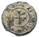 R/ Zecche Italiane - Brindisi. Corrado I 1250-1254. Mezzo Denaro. d/ RE/X. gr 0,33. mm 13,2. Guglielmi 251. BB. Intonso. RR
