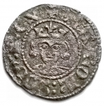 D/ Zecche Italiane - Napoli. Carlo II d'Angiò (1285-1309) Denaro regale.D/ Busto frontale. R/ Croce gigliata. MI. gr 0.72. mm 18,1.P.R.4.BB+