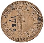 D/ Zecche Italiane - Ancona. Repubblica romana (1798-1799) - 2 Baiocchi - Bruni 1. CU (g 20,00) Raro SPL