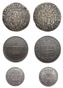 D/ Lotti - Toscana. Insieme di tre esemplari: giulio 1572 Ag,3 quattrini 1840,1 quattrino 1851