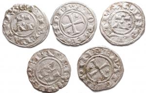 D/ Lotti - Brindisi. Enrico VI. 1190-1198. Denaro. D/ AP. R/ Croce. Sp. 30. MI. Piena argentatura. BB++. Insieme di 5 esemplari
