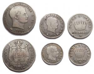 D/ Lotti - Milano. Napoleone I. 1 lira 1808 R; 10 soldi 1814; 5 soldi 1813. Lotto di 3 pezzi in Ag. Da MB+ a qBB