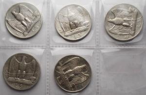D/ Lotti - Regno di Italia. Vittorio Emanuele III (1900-1943). 5 lire Aquilotto AG. Serie anni dal 1926 al 1930 da qBB a qSPL.