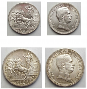 D/ Lotti - Vittorio Emanuele III. 1 lira 1917 - 2 lire 1917. Due pezzi. Ottime condizioni