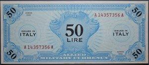 reverse: OCCUPAZIONE AMERICANA 50 LIRE 1943 AM SPL