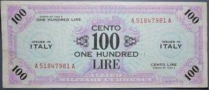 reverse: OCCUPAZIONE AMERICANA 100 LIRE 1943 AM BB+ (TAGLIETTO)
