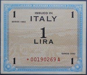 reverse: OCCUPAZIONE AMERICANA 1 LIRA 1943 AM CON ASTERISCO RR SPL