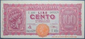 reverse: LUOGOTENENZA 100 LIRE 1944 ITALIA TURRITA BB+ (STRAPPETTO)