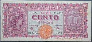 reverse: LUOGOTENENZA 100 LIRE 1944 ITALIA TURRITA BB-SPL