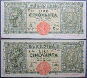 reverse: LUOGOTENENZA 50 LIRE 1944 ITALIA TURRITA BB LOTTO 2 BANCONOTE