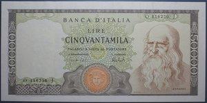 reverse: REPUBBLICA ITALIANA 50000 LIRE 16/5/1972 LEONARDO DA VINCI R SPL