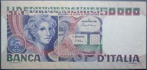reverse: REPUBBLICA ITALIANA 50000 LIRE 11/4/1980 VOLTO DI DONNA BB+/SPL