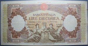 reverse: REPUBBLICA ITALIANA 10000 LIRE 21/11/1955 REGINE DEL MARE  BB (STRAPPETTO)