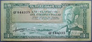 R/ ETIOPIA ONE DOLLAR 1966 BB