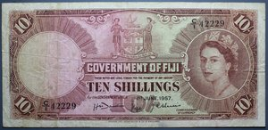 R/ FIJI 10 SHILLINGS 01.06.1957 BB