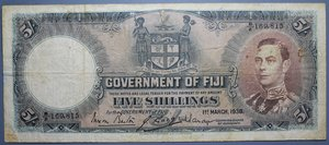 R/ FIJI 5 SHILLINGS 01.03.1938 BB