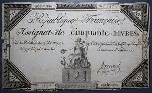 R/ FRANCIA 50 LIVRES 1792 B