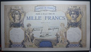 R/ FRANCIA 1000 FRANCS 20.06.1940 SPL