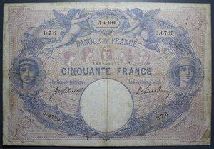 R/ FRANCIA 50 FRANCS 17.04.1916 BB