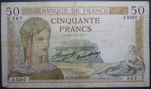 R/ FRANCIA 50 FRANCS 11.02.1937 BB