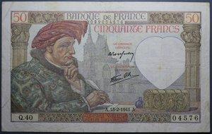 R/ FRANCIA 50 FRANCS 13.02.1941 BB+