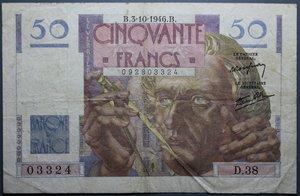 R/ FRANCIA 50 FRANCS 03.10.1946 BB+